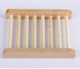 Wholesale Soap Box Dish Holder Wholesale - 500pcs Natural Wooden Soap Dish Plate Tray Holder Box Case Shower Hand washing DHl Free Shipping