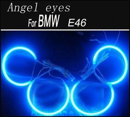 Wholesale Ccfl Ring Bmw E46 - 2X 146mm 2X 131.5mm Car CCFL Angel eyes LED Kits for E46 NON projector Headlights Halo Ring Blue Red White Color Choose
