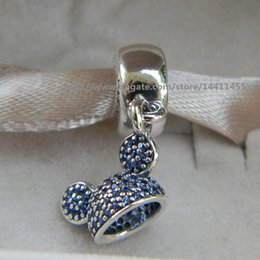 Wholesale Pandora Hat - NEW 925 Sterling Silver Mickey Ear Hat Dangle Charm Bead with Blue Cz Fits European Pandora Jewelry Bracelets Necklaces & Pendants
