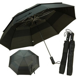 Wholesale Double Golf Umbrella - Wholesale-Umbrellas Folding automatic double layer golf large super strong sun umbrella Free shipping