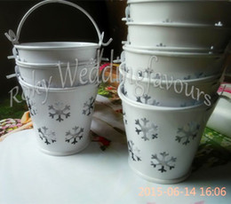 Wholesale Wholesale Tin Buckets Pails - FREE SHIPPING+100pcs, Winter Theme Snowflake Mini Tin Pails Candy Boxes,Mini Pails Favors Mini Bucket Candy boxes,Tin Pails Favors
