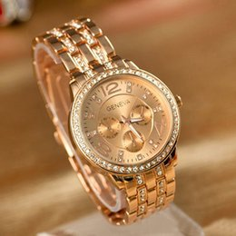 Wholesale Rose Gold Ladies Geneva Watch - Wristwatches Geneva Luxury Rose Gold Classic Round Crystal Ladies Watch.PUPUG Quartz Wristwatch Men Women Watch