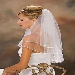 Wholesale Women Wedding Veils - High Quality short veil Hot Seller 1 LAYER White Ivory wedding Veils Short Bridal Wedding Women Formal Veils Cheaphigh quality wholesale