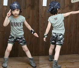 Wholesale Camouflage Sleeves T Shirts Children - Baby boy Camouflage Suits 2015 new children letter Short sleeve T-shirt +camouflage shorts pants 2 pcs Suit boy children clothing