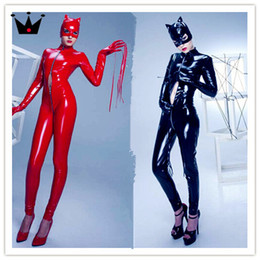 Wholesale Plus Size Pvc Lingerie - PLUS SIZE! New Latex catsuit sexy long sleeve black leather catsuit PVC sexy lingerie Latex Bodysuit Christmas New year costume