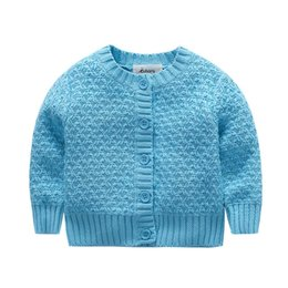 Wholesale open collar long sleeves sweater - Wholesale- Toddler Baby Knitted Cardigan Sweater Ruffle Collar Warm Jacket Sweaters Kids Boys Girls Long Sleeve Autumn Winter Outwear