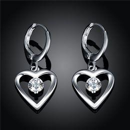Wholesale Heart Shape Stones - Brand new sterling silver Heart-shaped earrings inlaid stone DFMSE626women's 925 silver Dangle Chandelier wedding gemstone earrings factory