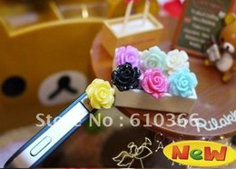 Wholesale Decoration For Dust Plug - Wholesale-500pcs Colorful Flower Dust Plug 3..5mm audio jack for iphone ipad mp3 mp4 player Decoration product Free Shipping