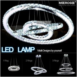 Wholesale Modern Led Ring Chandelier - Hot sale Diamond Ring LED Crystal Chandelier Light Modern LED Lighting Circles Lamp 100% Guarantee Fast shipping