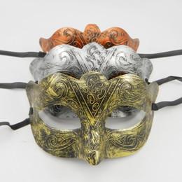 Wholesale Venetian Mask Brown - Greek Man Eye mask Fancy dress Roman warriors Costume Venetian masquerade party Mask wedding mardi gras dance favor gold silver copper