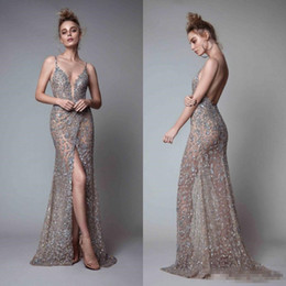 Wholesale Jacket Dresses High Necklines - 2018 Berta Front Split Evening Dresses Rhinestones Sleeveless Plunging Neckline Prom Dress Backless Floor Length Formal Evening Gowns