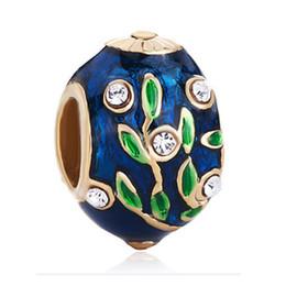 Faberge perlen online-22K vergoldung handcraft farben Emaille CRYSTAL LEAF Faberge Egg charm Russion Beads Für Armbänder