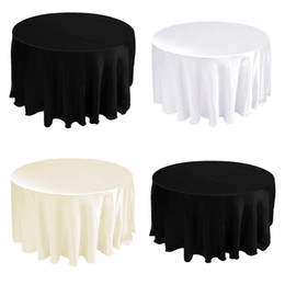 """Wholesale round wedding tablecloths - Free by DHL,5 pieces Tablecloth Table Cover Round Satin for Banquet Wedding Party Decoration White Black Wholesales 90"""" -CTH-90"""
