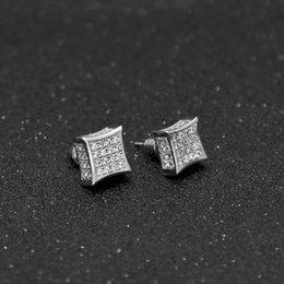Wholesale Luxury Earings - Men Luxury Earings Full Crystal Zirconia CZ Stud Earrings Trendy Top Quality Gold Silver Color 12mm*12mm Men Women