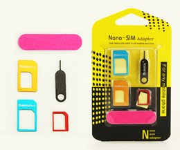 Wholesale Nano Adaptor - 5 in 1 Metal Sim Adaptor Kit Nano to Micro standard SIM Card Adapter With retail package iphone 6 4 5