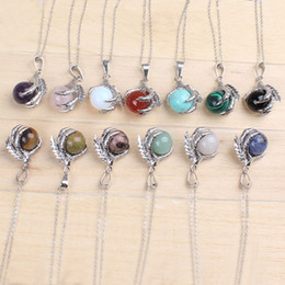 Wholesale indian stone beads - wholesale 20Pcs Classic Silver Plated Chain Mixed Stone Dragon Claw Round Beads Pendant Necklace Jewelry