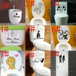 Wholesale Wall Stickers For Toilets - Free Shipping 10 styles mixed Bathroom Waterproof Toilet Seat Stickers decorative wall decals hot sale 20 piece lots wholesale