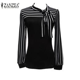 Wholesale White Blouse Black Bow - Plus Size S-4XL 2015 Hot Sale OL Women Blouse Shirt Fashion Black White Striped Bowknot Tops Long Sleeve Blusas Femininas FG1511