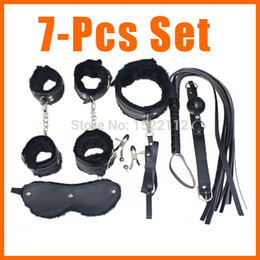 Wholesale Leather Collar Gag - Adult Game 7-pcs Set Handcuffs Gag Nipple Clamps Whip Collar Erotic Toy Leather Fetish Sex Bondage Restraint Sex Toy for Couples