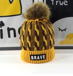 Wholesale Braves Beanie - 10pcs Hiking rope children hat label BRAVE boys and girls elastic warm hair ball cap wholesale