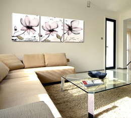 Wholesale Canvas Fashion Picture - 3 Pieces Home Decor Lotus Canvas Painting Fashion Wall Art Painted on Canvas Frameless Painting HD Pictures