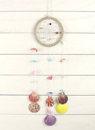 Wholesale Colorful Nature - Dream Catcher Colorful Nature Shells and Nature Crystal Handmade Native American Room Nursery Wall Decor Hanging Ornaments Gift D362L