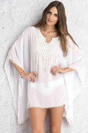 Wholesale Chiffon Tunic Beach Cover Ups - White Blue Crochet Lace Neck Pom Pom Trim Sheer Chiffon Beach Caftan Tunics, Women Bikini Swimwear Dress Kaftan Cover Up Beachwear S41519