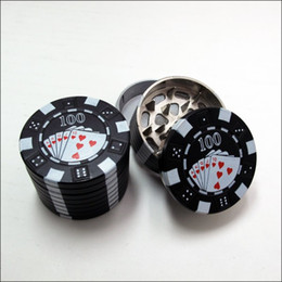 "Wholesale Poker Styles - Zinc Alloy Poker Chip Herb Grinder 1.75"" Mini Poker Chip Style 3 Piece Herb,Spice,Tobacco Grinder Poker Herb Smoke Cigarette Grinder"