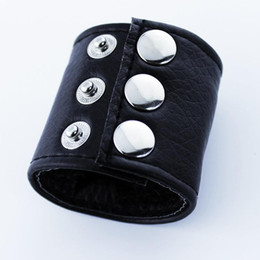Wholesale Testicle Ring Leather - 2pcs New Ball Stretcher Ball Weight Cock Ring Sex Products Cockring Penis BDSM Leather Bondage Restraints For Men Scrotum Testicle Stretched