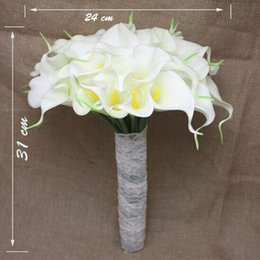 Wholesale Rose Lily Flower Bouquet - Wedding Bride Holding Flowers XT-3074 Purity lily Bridal Bouquet with Hand Made Flowers Satin Rose Pearls Wedding bouquet