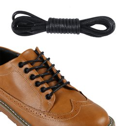 Wholesale Leather Cord Shoe Laces - 12 pairs Fashion Casual Leather Shoelaces High Quality Waxed Round Shoe Laces Boots Sport Shoes Cord Ropes