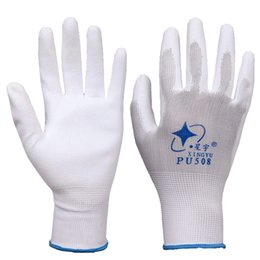 Wholesale Latex Work Gloves Wholesale - 12 Pairs PU latex Nylon white Safety Work Gloves Builders Grip Palm Coating Gloves Anti - skid
