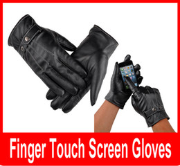 Wholesale Gloves For Mobile - Cool Black Leather Winter Outdoor Cycling Motorcycle Men Full Finger Touch Screen Warm Gloves For Iphone Ipad Mobile