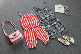 Wholesale Kids Red Vest Top - Summer Kids Striped Ruffles Suspender Tops+Pants 2 Pieces Outfits Children Clothing Vest Short Pants Sets Summer Thin Clothing