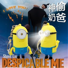 Wholesale Despicable Talk - Wholesale-2pcs lot gift for lovers, lovely despicable me minion toy,led despicable me keychain toys for children, minion toy talking