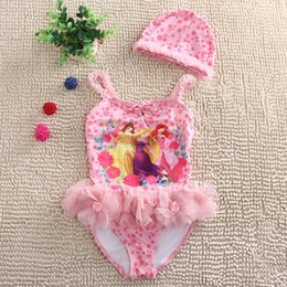 Wholesale Hot Girls Swimming - Mermaid Princess Girls Swim One-Pieces With Swim Caps Suits Lace Flower 2piece Sets Children Girl Hot Spring Swimwear Swimming Set A6533