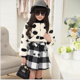 Wholesale Down Vest Fur Collar - Fashion Girls Autumn Winter Clothing Sets Outfits Children Faux Fur Waistcoat+Sleeveless Vest Dress 2pcs Cute Girl Suit 120-160cm Retail