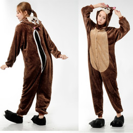 Wholesale Chipmunks Costumes Adult - Cute Chipmunk Onesies Costumes Women Sleepwear Animal Onesies Pajamas For Adults Cosplay Costumes Onesies Kigurumi Pajamas