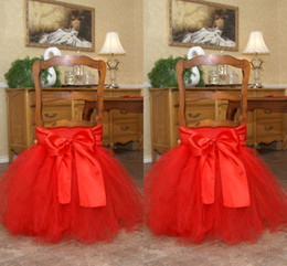 Wholesale Order Tutu - Red Tutu Tulle Chair Sashes Satin Bow Made-to-order Chair Skirt Lovely Ruffles Wedding Decorations Chair Covers Birthday Party Supplies