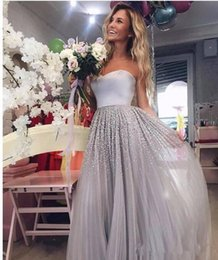 Wholesale Real Stone Flooring - 2018 New Silver Strapless Tulle A Line Prom Dresses Beaded Stones Floor Length Formal Party Guest Evening Dresses
