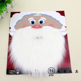 Wholesale Mustache Decorations - Christmas Santa White Fake Beard Mustache Whiskers Unisex Fancy Dress Xmas Party Stage Performance Props wen4755