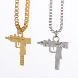 Wholesale Stainless Steel Neck Chains - Hip Hop Uzi Neck Gold Plated Pistol Uzi Gun Pendants & Necklaces Chain Necklace for Men Women Party Accessories Punk