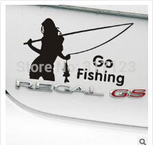 Wholesale Car Body Graphics - (50pieces lot) Wholesale belle go fishing Vinyl Car Window Decals Graphics Sticker car styling