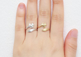 Wholesale 3d Rings - 10PCS- R023 Gold Silver Cute Fox Adjustable Rings Simple 3d Animal Face Ring Fox Tail Tiny Twisted Fox for Women