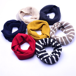 Wholesale Baby Strips - Baby Scarf Cotton Winter Warm Ring Scarves Cashmere Boys Girls Strips O-Ring Knitted Wool Neck Scarves Soft
