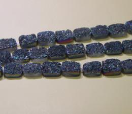 Wholesale Rainbow Druzy - 13X18mm 15.5inch Titanium Rainbow Druzy Agate Beads Natural Square Gemstone Drusy Crystal Quartz Necklace Pendant Jewelry Make Connector