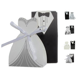Wholesale Bridal Paper Gift Bags - S5Q 100pcs Groom Bridal Tuxedo Dress Wedding Candy Gifts Ribbon Favor Bags Boxes AAAERJ