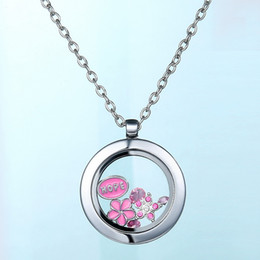Wholesale Float Frames Wholesale - Stainless steel glass Floating Locket Memory Charms Transparent frames Glass Locket Pendants Jewelry for DIY Round Necklace Pendant