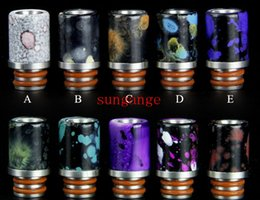 Wholesale Tips For E Cigs - 2016 Newest Drip Tips For E Cigs Resin Delrin Drip Tips 510 Mouthpiece For EGO Atomizers Mini Subox Nano Nautilus Wide Bore Drip Tips Delrin