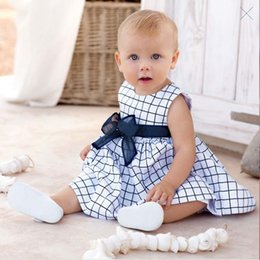 baby floral belts Promo Codes - 2015 Spring New Children Sleeveless one-piece Princess Dress with Big Bowknot Belt Baby Dresses B001